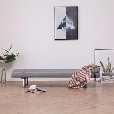 vidaXL Sofá cama con dos almohadas de poliéster gris claro