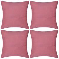 4 fundas rosas para cojines de algodón, 50 x 50 cm