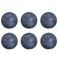 Bolsius Velas rústicas de bola 6 unidades azul oscuro 80 mm