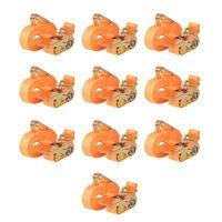 vidaXL Correas de sujeción de trinquete 10 uds 0,4 T 6mx25mm naranja