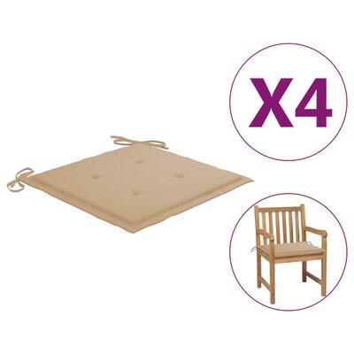 vidaXL Cojines de silla de jardín 4 uds tela beige 50x50x4 cm