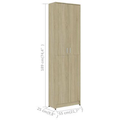 vidaXL Armario de pasillo de aglomerado roble Sonoma 55x25x189 cm