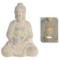 ProGarden Figura de Buda con lámpara solar MGO color crema
