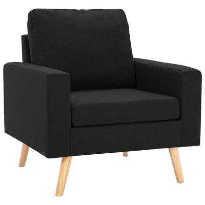vidaXL Juego de sofás 3 piezas de tela negro