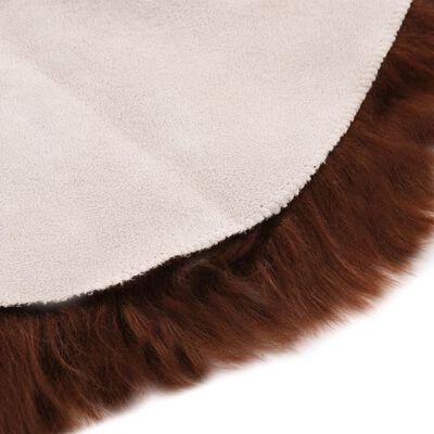 vidaXL Alfombra de piel de oveja sintética marrón 60x90 cm
