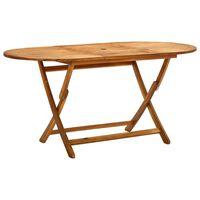 vidaXL Mesa de jardín plegable madera maciza de acacia 160x85x75 cm