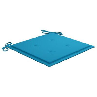 vidaXL Sillas de jardín 8 unidades teca maciza con cojines azules