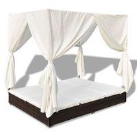 vidaXL Tumbona con cortinas de ratán sintético marrón