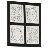vidaXL Panel de pared tallado a mano MDF negro y blanco 40x40x1,5 cm