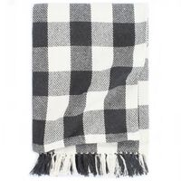 vidaXL Manta a cuadros de algodón gris antracita 125x150 cm