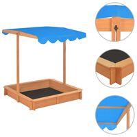 vidaXL Caja de arena con techo ajustable de madera de abeto azul UV50