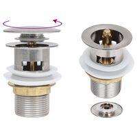 vidaXL Desagüe de empuje función desbordamiento níquel 6,4x6,4x9,1 cm