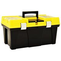 vidaXL Caja de herramientas de plástico amarillo 595x337x316 mm