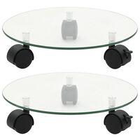 vidaXL Soporte ruedas para macetas redondo vidrio templado 28cm 2 uds