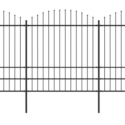 vidaXL Valla de jardín con puntas de lanza acero negro (1,75-2)x6,8 m