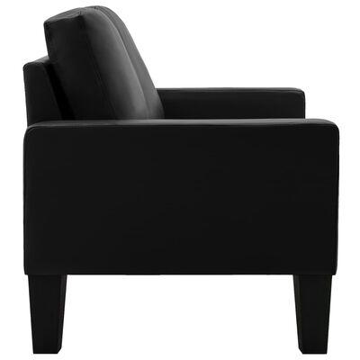 vidaXL Sofá de 2 plazas de cuero sintético negro