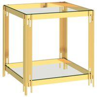 vidaXL Mesa de centro acero inoxidable y vidrio dorada 55x55x55 cm