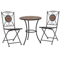 vidaXL Set mesa y sillas bistró 3 piezas mosaico cerámica naranja/gris