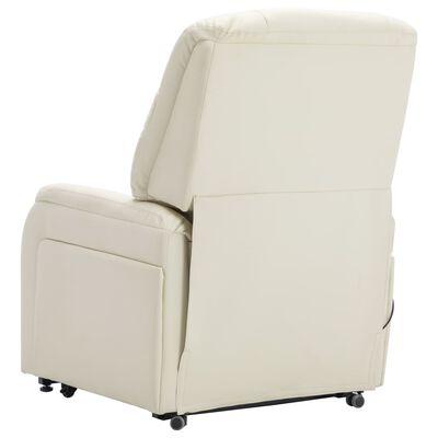 vidaXL Sillón de masaje reclinable incorporación cuero sintético crema
