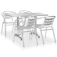 vidaXL Juego de comedor para jardín 5 piezas de aluminio plateado