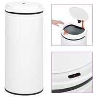 vidaXL Cubo de basura sensor automático 80 L acero al carbono blanco