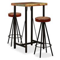 vidaXL Mesa y 2 taburetes bar madera maciza reciclada cuero real lona