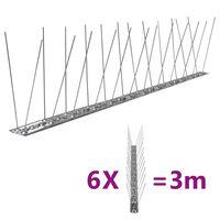 vidaXL Set de 6 hileras pinchos contra pájaros y palomas 2 filas 3 m
