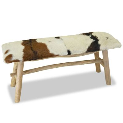 vidaXL Banco de madera de teca con cuero auténtico