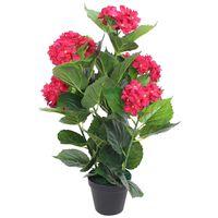 vidaXL Planta artificial hortensia con macetero 60 cm roja