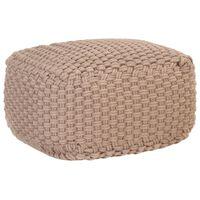 vidaXL Puf tejido a mano de algodón marrón 50x50x30 cm