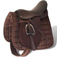 """Set de montura de caballo de 16"""" y cuero marrón 14 cm, 5 en 1"""