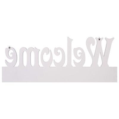 vidaXL Perchero de pared WELCOME blanco 74x29,5 cm