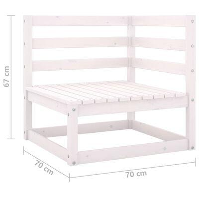 vidaXL Muebles de jardín 11 pzas y cojines blanco madera maciza pino