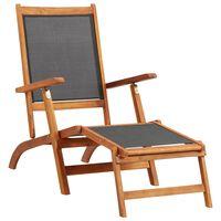 vidaXL Tumbona de madera maciza de acacia y textilene