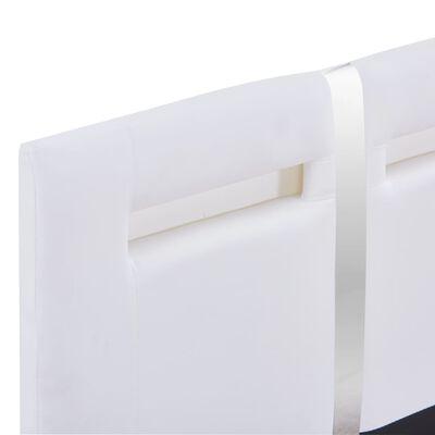vidaXL Estructura de cama con LED de cuero sintético blanco 90x200 cm