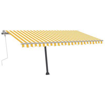 vidaXL Toldo manual retráctil con LED amarillo y blanco 450x350 cm