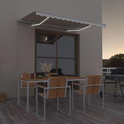 vidaXL Toldo retráctil manual con LED crema 350x250 cm