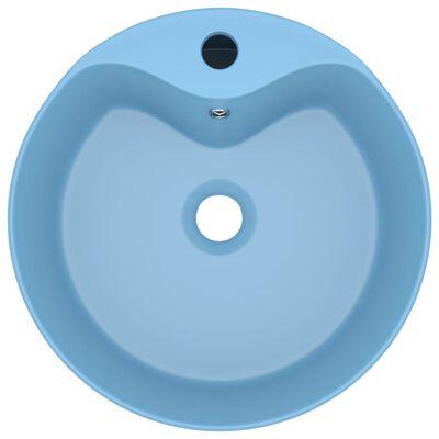 vidaXL Lavabo lujo con rebosadero cerámica azul claro mate 36x13 cm