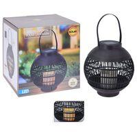 ProGarden Farol solar LED con vela ratán negro