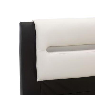 vidaXL Estructura cama con LED cuero sintético negro blanco 160x200 cm