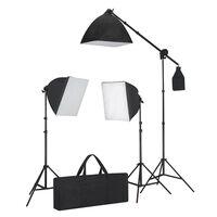vidaXL Set de iluminación: 3 luces de foto con trípode y softbox