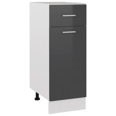 vidaXL Armario inferior con cajón de cocina aglomerado gris con brillo