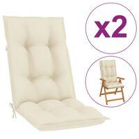 vidaXL Cojines para sillas de jardín 2 uds crema 120x50x7 cm