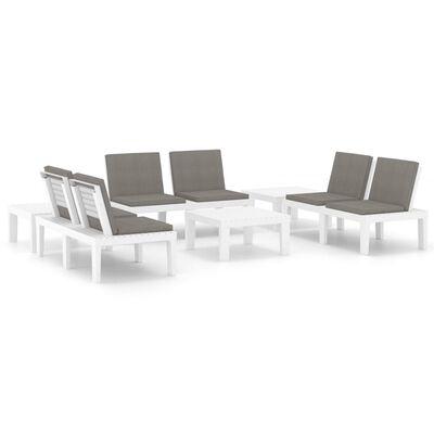 vidaXL Set de muebles de jardín 6 piezas con cojines plástico blanco