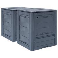 vidaXL Compostadores de jardín 2 unidades gris 520 L 60x60x73 cm