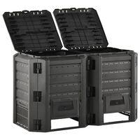 vidaXL Compostador de jardín negro 800 L