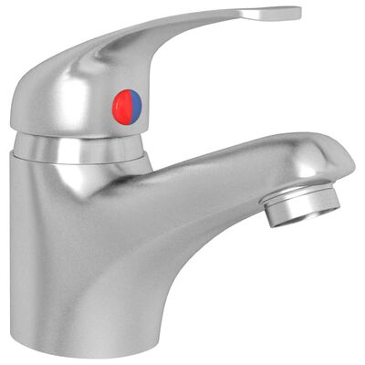 vidaXL Grifo mezclador de lavabo plateado 13x10 cm