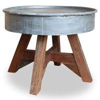 vidaXL Mesa de centro de madera maciza reciclada plateada 60x45 cm