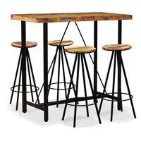 vidaXL Set de muebles de bar 5 piezas madera maciza reciclada