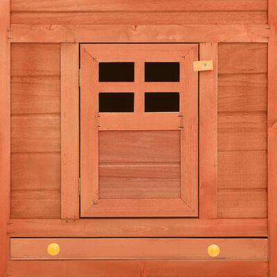 vidaXL Jaula conejera de exterior con corral madera de abeto marrón